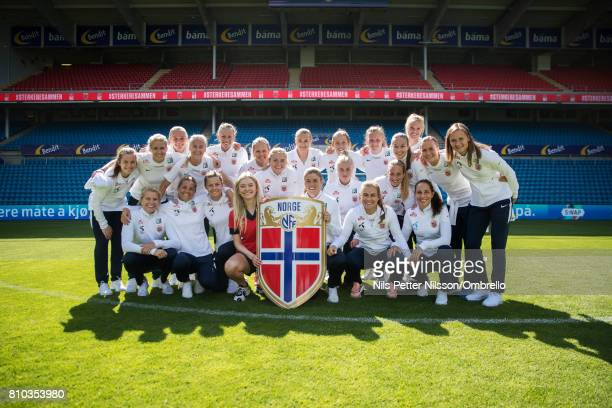 Artist Astrid S Maren Mjelde and players is presented with a shield during a Norway FA Photo Shoot on July 5 2017 at Ulleval in Oslo Norway
