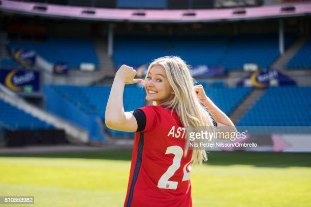 Artist Astrid S poses for a portrait during a Norway FA Photo Shoot on July 5 2017 at Ulleval in Oslo Norway