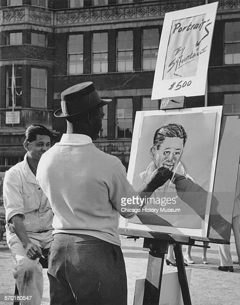 Artist at the 57th Street Art Fair Chicago Illinois June 8 1957