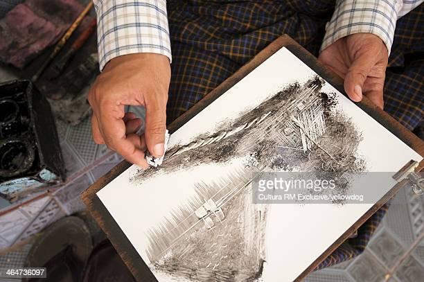 Artist at work, Mandalay, Myanmar