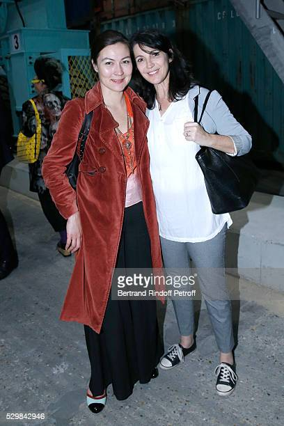 Artist Audrey Vuong and actress Zabou Breitman attend the 'Empires' exhibition of Huang Yong Ping as part of Monumenta 2016 Opening at Le Grand...