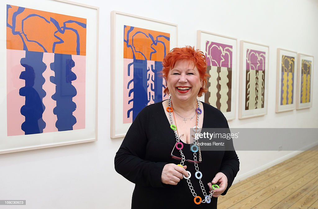 Artist Barbara Salesch poses next to her art work (title: 'Farbserie 1 - 7teilig') at ROOT gallery on January 10, 2013 in Berlin, Germany. The exhibition will open January 10 and run through February 3.
