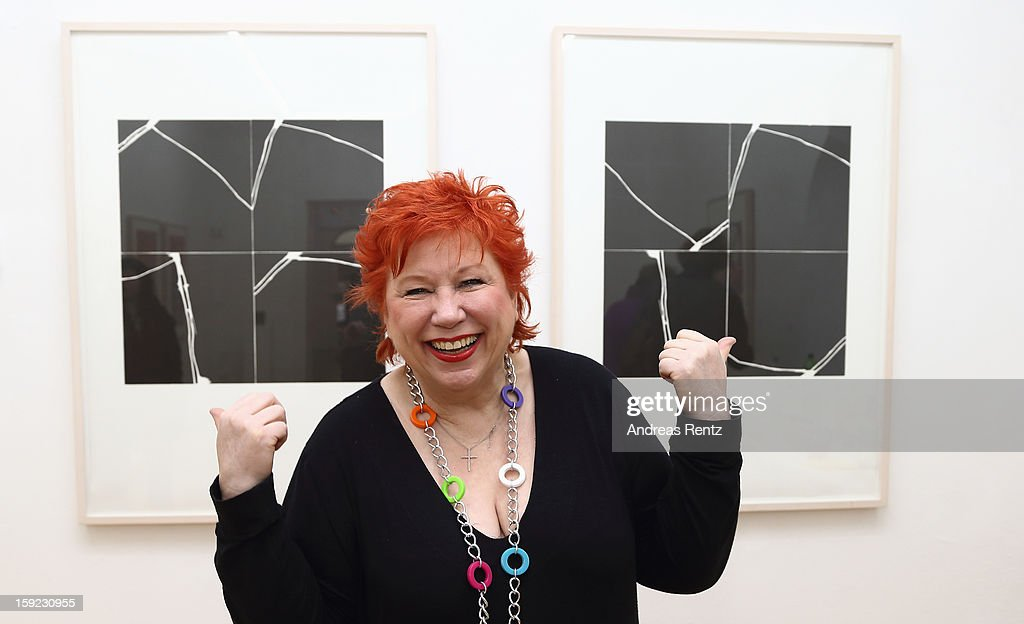 Artist Barbara Salesch poses next to her art work (title: 'Schwarze Quadrate') at ROOT gallery on January 10, 2013 in Berlin, Germany. The exhibition will open January 10 and run through February 3.