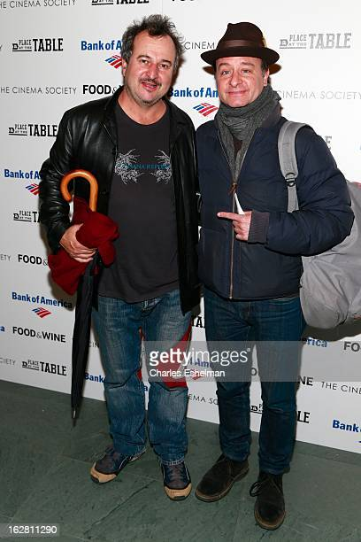 Artist Beezy Bailey and actor Fisher Stevens arrives at Bank of America and Food Wine with The Cinema Society present a screening of 'A Place at the...