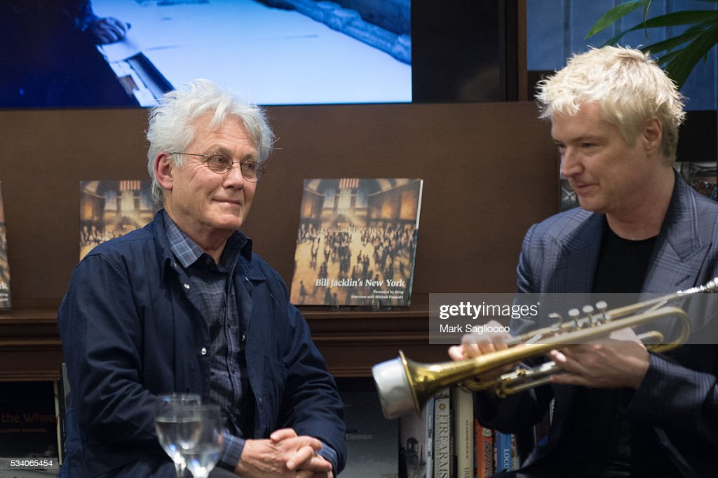 Artist Bill Jacklin and trumpeter <a gi-track='captionPersonalityLinkClicked' href=/galleries/search?phrase=Chris+Botti&family=editorial&specificpeople=223897 ng-click='$event.stopPropagation()'>Chris Botti</a> attend the Bill Jacklin Book Launch Party at Rizzoli Bookstore on May 24, 2016 in New York City.