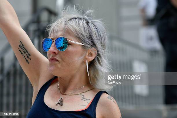 Artist Bird Milliken reacts outside Montgomery County Courthouse after judge Steven O'Neill declares a mistrial in the aggravated indecent assault...