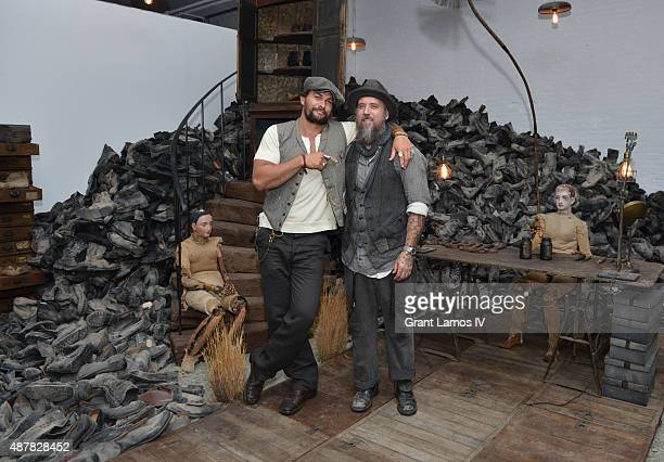 Artist Blaine Halvorson and actor Jason Momoa attend the opening of Blaine Halvorson installation 'Walk Don't Run' at NYFW The Shows NYFW The Shows...