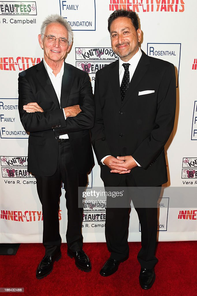 Artist Charles Arnoldi (L) and Eric Schotz attend the Inner-City Arts Imagine Gala at The Beverly Hilton Hotel on October 30, 2013 in Beverly Hills, California.