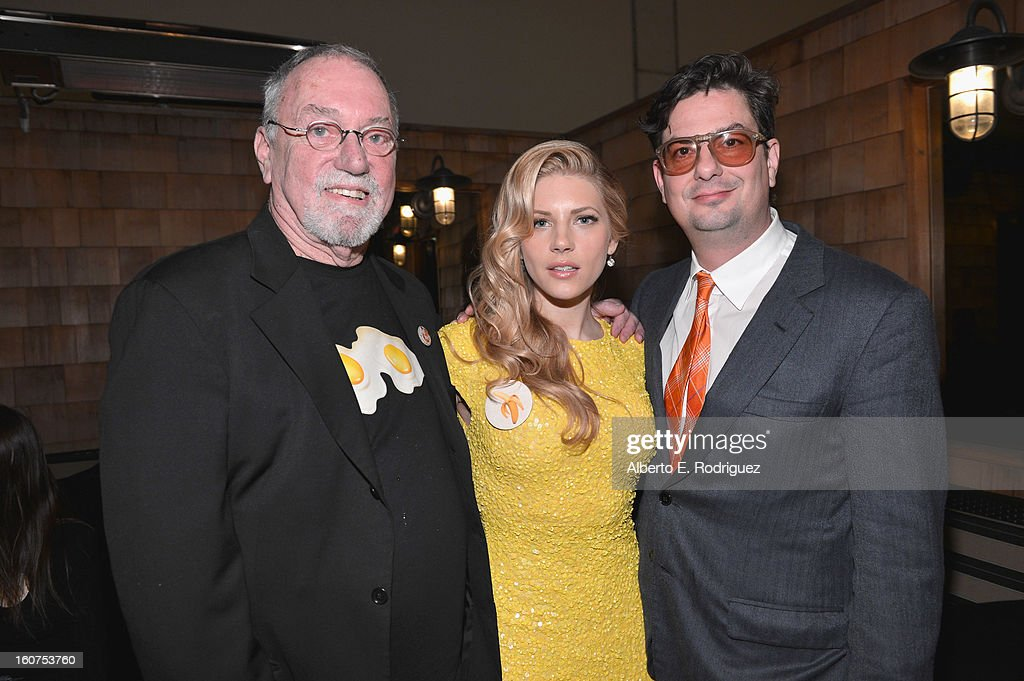 Artist Charlie White III, actress <a gi-track='captionPersonalityLinkClicked' href=/galleries/search?phrase=Katheryn+Winnick&family=editorial&specificpeople=663983 ng-click='$event.stopPropagation()'>Katheryn Winnick</a> and director <a gi-track='captionPersonalityLinkClicked' href=/galleries/search?phrase=Roman+Coppola&family=editorial&specificpeople=615097 ng-click='$event.stopPropagation()'>Roman Coppola</a> attend the after party fot the Los Angeles premiere of A24's 'A Glimpse Inside The Mind Of Charles Swan III' at ArcLight Hollywood at ArcLight Hollywood on February 4, 2013 in Hollywood, California.