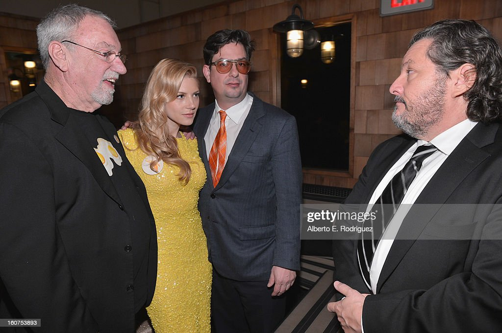 Artist Charlie White III, actress <a gi-track='captionPersonalityLinkClicked' href=/galleries/search?phrase=Katheryn+Winnick&family=editorial&specificpeople=663983 ng-click='$event.stopPropagation()'>Katheryn Winnick</a>, director <a gi-track='captionPersonalityLinkClicked' href=/galleries/search?phrase=Roman+Coppola&family=editorial&specificpeople=615097 ng-click='$event.stopPropagation()'>Roman Coppola</a> and executive producer Robert Maron attend the after party fot the Los Angeles premiere of A24's 'A Glimpse Inside The Mind Of Charles Swan III' at ArcLight Hollywood at ArcLight Hollywood on February 4, 2013 in Hollywood, California.