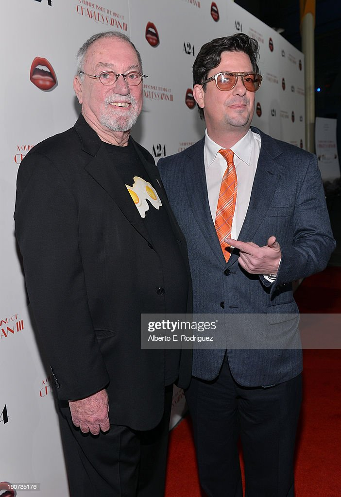 Artist Charlie White III and Director <a gi-track='captionPersonalityLinkClicked' href=/galleries/search?phrase=Roman+Coppola&family=editorial&specificpeople=615097 ng-click='$event.stopPropagation()'>Roman Coppola</a> attend the Los Angeles premiere of A24's 'A Glimpse Inside The Mind Of Charles Swan III' at ArcLight Hollywood on February 4, 2013 in Hollywood, California.