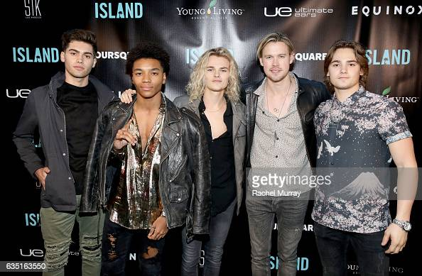Artist Chord Overstreet and Citizen Four members Austin Percario Josh Levi Carson Boatman and Conner Boatman attend Island Records PreGrammy Party...
