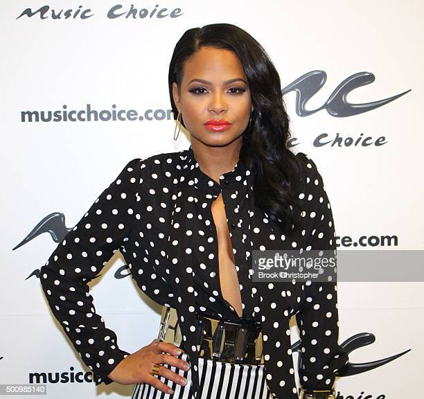Artist Christine Milian visits 'Music Choice' on December 11 2015 in New York City