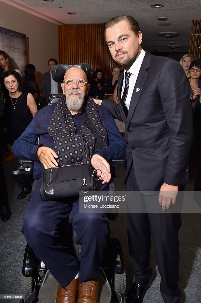 Artist Chuck Close (L) and actor Leonardo DiCaprio attend the National Geographic Channel 'Before the Flood' screening at United Nations Headquarters on October 20, 2016 in New York City.