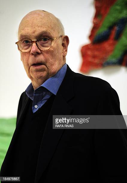 US artist Claes Oldenburg poses during the presentation of the exhibition 'Claes Oldenburg The Sixties' at the Guggenheim Bilbao Museum in the...