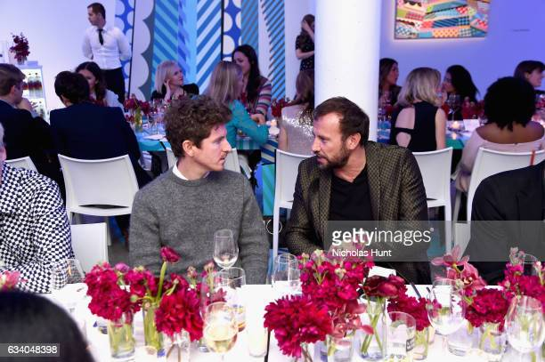 Artist Craig Redman and Mauro Porcini SVP Chief Design Officer at PepsiCo attend Vogue Celebrates The Launch of LIFEWTR at Super Bowl LI on February...