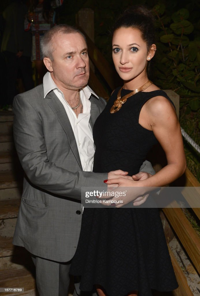 Artist <a gi-track='captionPersonalityLinkClicked' href=/galleries/search?phrase=Damien+Hirst&family=editorial&specificpeople=215142 ng-click='$event.stopPropagation()'>Damien Hirst</a> and Roxie Nafousi attend a Beachside Barbecue presented by CHANEL hosted by Art.sy Founder Carter Cleveland, Larry Gagosian, Wendi Murdoch, Peter Thiel and Dasha Zhukova at Soho Beach House on December 5, 2012 in Miami Beach, Florida.