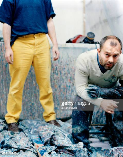 Artist Damien Hirst is photographed with actor Keith Allen in London England