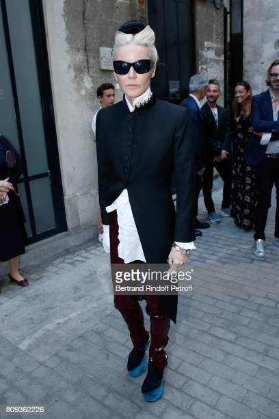 Artist Daphne Guinness attends the Azzedine Alaia Fashion Show as part of Haute Couture Paris Fashion Week Held at Azzedine Alaia Gallery on July 5...