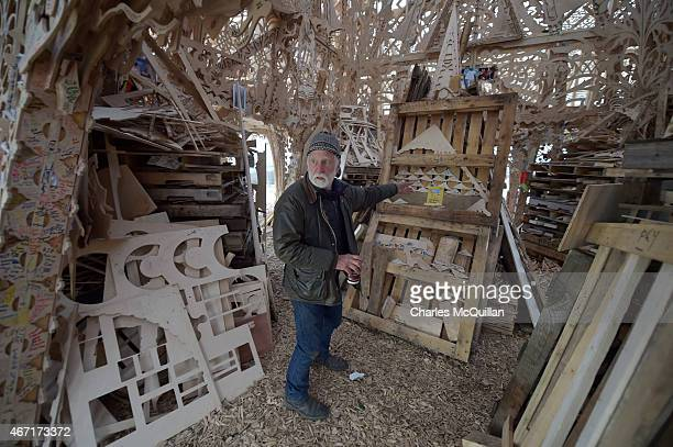 Artist David Best gives final instructions before thousands of people gather to watch the Temple set ablaze on March 21 2015 in Londonderry Northern...