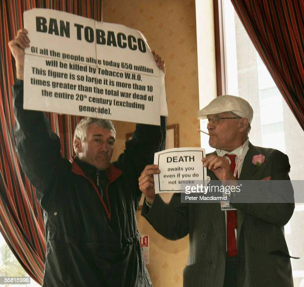 Artist David Hockney is seen with anti smoking campaigner Stuart Holmes during a photocall highlitghting the fight against legislation to ban smoking...
