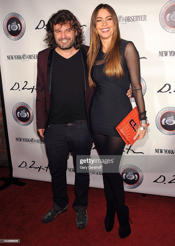 Artist Domingo Zapata (L) and actress Sophia Vergara attend the Artist Domingo Zapata VIP Art Reception at The Bowery Hotel on October 24, 2012 in New York City.