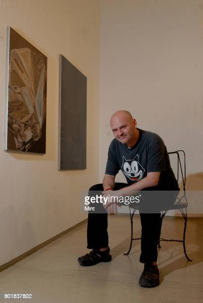 Artist Eberhard Havekost with his work at the art gallery in Mumbai