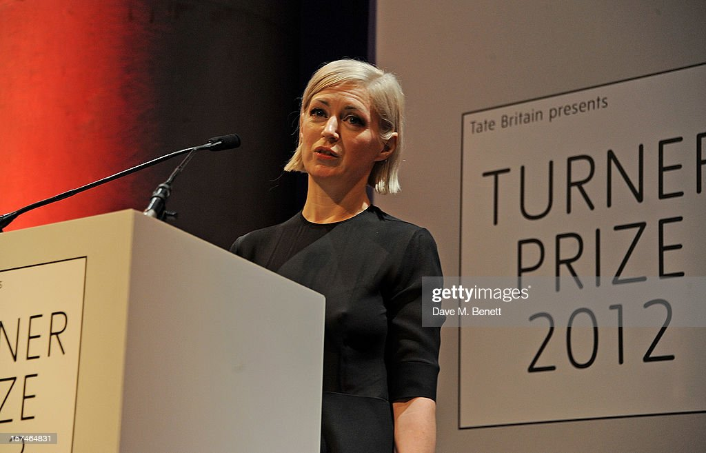 Artist Elizabeth Price accepts the Turner Prize 2012 at the winner announcement held at the Tate Britain on December 3, 2012 in London, England.