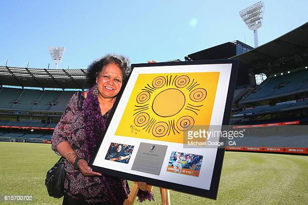 Artist Fiona Clarke a descendent of players from the 1866 and 1868 Indigenous cricket teams displays her work that will feature on the player's...