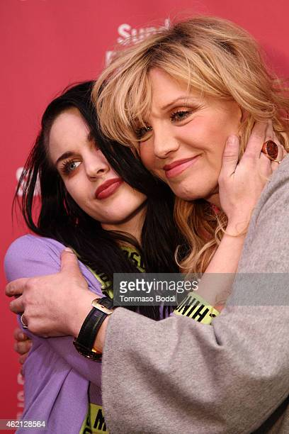 Artist Frances Bean Cobain and musician Courtney Love attend the HBO documentary films Kurt Cobain Montage of Heck Sundance premiere on January 24...