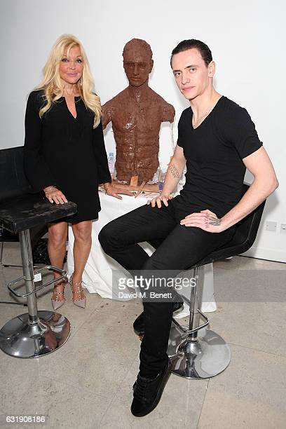 Artist Frances Segelman sculpts dancer Sergei Polunin at The Hospital Club Gallery on January 17 2017 in London England