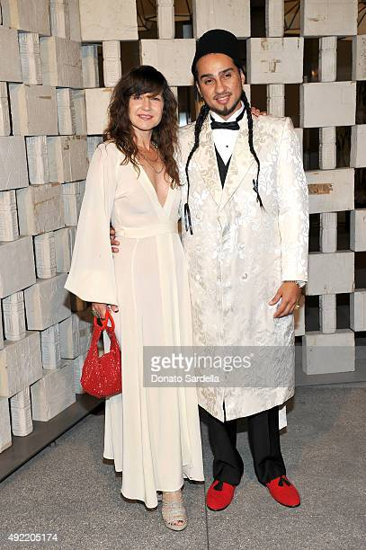 Artist Frances Stark and Bobby Jesus attend the Hammer Museum Gala in Garden sponsored by Bottega Veneta at Hammer Museum on October 10 2015 in...