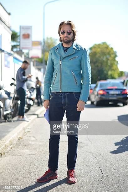 Artist Francesco Vezzoli is seen before the Emilio Pucci show during the Milan Fashion Week Spring/Summer 16 on September 24 2015 in Milan Italy