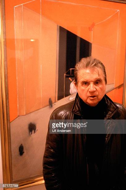 Artist Francis Bacon at the opening of his exhibition in ParisFrance during January of 1984
