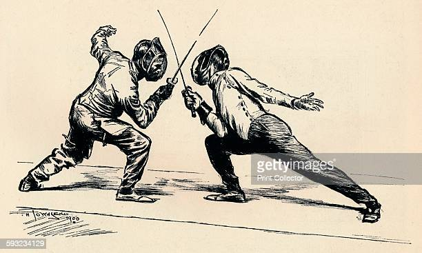 Artist Frederick Henry Townsend Fencers by T H Townsend' 190001 From Modern Pen Drawings European and American Edited by Charles Holme [The Offices...
