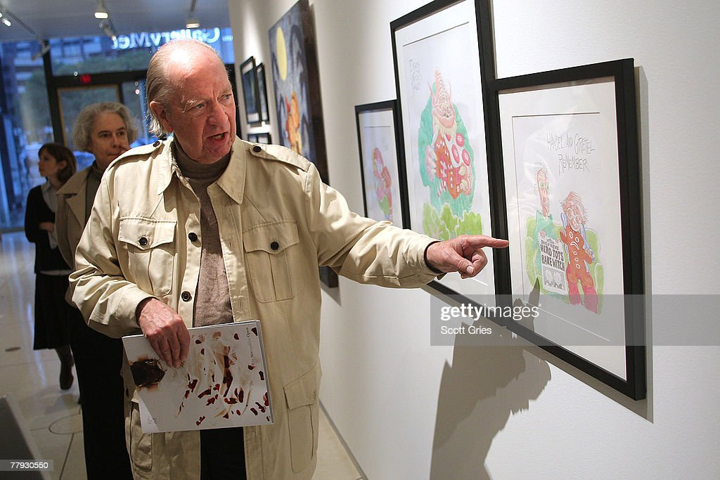 Artist Gahan Wilson discusses his piece on display during a press preview of the Metropolitan Opera's and The New Yorker's exhibition of 'Hansel and Gretel' at the Arnold & Marie Schwartz Gallery Met on November 15, 2007 in New York City.