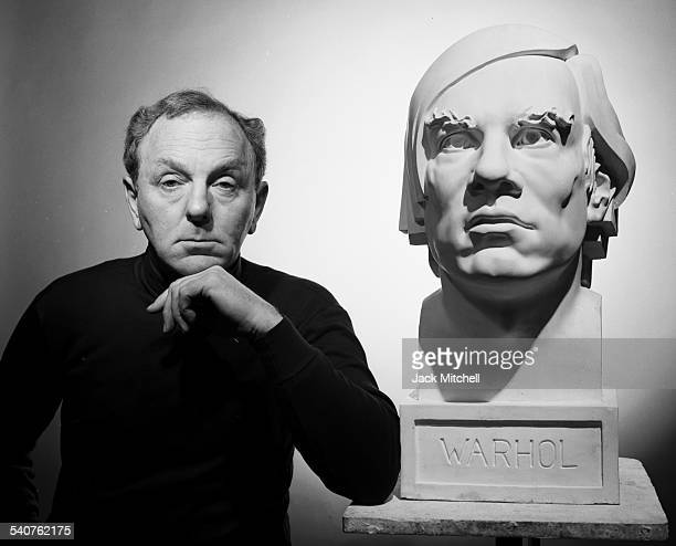 Artist Gerald Laing with his largerthanlife bust of Andy Warhol in November 1988