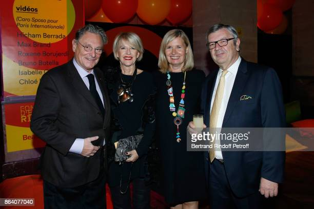 Artist Gerard Garouste Director of the Ricard Foundation Colette Barbier guest and President of the Ricard Foundation Philippe Savinel attend the...