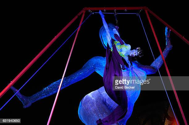 Artist Giulia Piolanti from Cirque du Soleil's touring show 'TORUK The First Flight' performs during a special appearance at 'Party at The Park' at...
