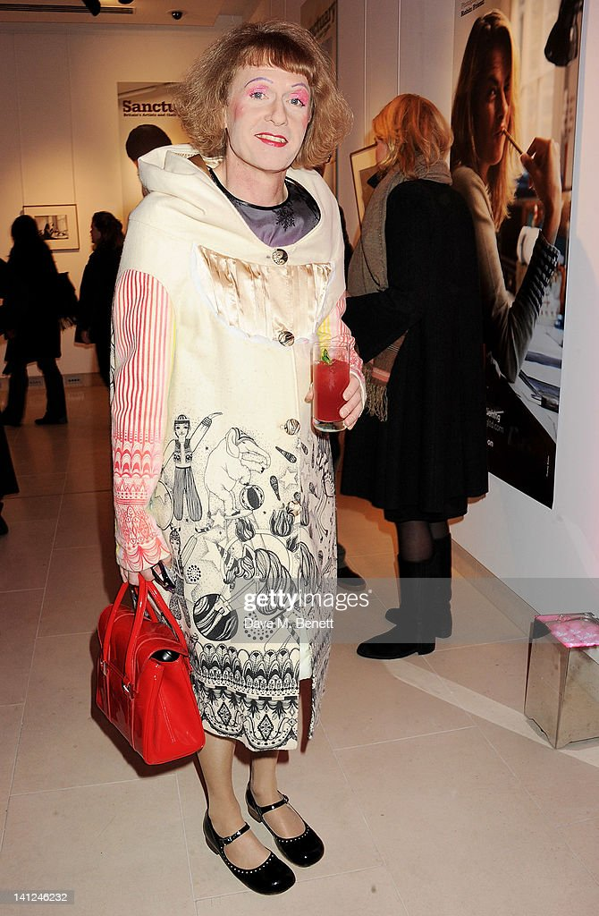 Artist Grayson Perry attends the book launch event for 'Sanctuary Britain's Artists And Their Studios' at Christie's King Street on March 13 2012 in...