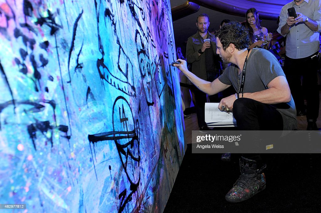 Artist Gregory Siff creates art live during the Mercedes-Benz 2015 Evolution Tour on August 4, 2015 in Los Angeles, California.