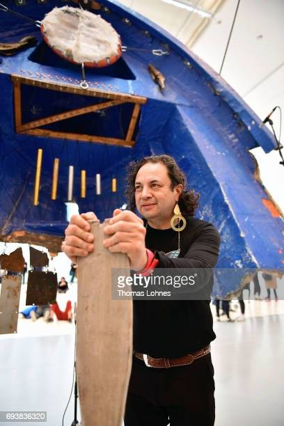 Artist Guillermo Galindo of Mexico poses for a portrait after his performance 'Sonic Borders 2' at 'documenta hall' on June 8 2017 in Kassel Germany...