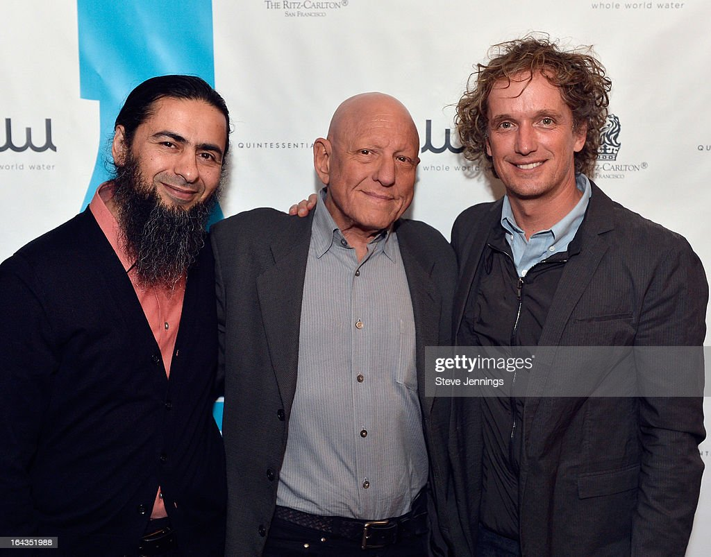 Artist Hadi Tabatabai, Chief Executive Officer of the Hyatt Development Corporation Nicholas J. Pritzker and Designer Yves Behar attend the WHOLE WORLD Water launch event at Parallel 37 at The Ritz-Carlton, San Francisco on March 22, 2013 in San Francisco, California.