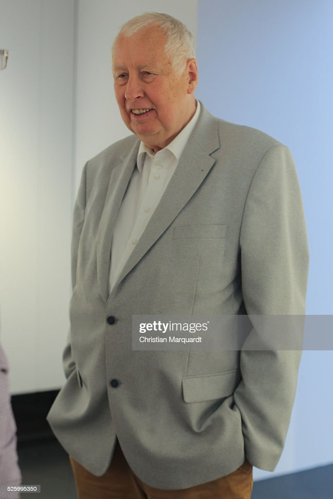 Artist Hans-Peter Feldmann attends the preview of the exhibitions 'Hans-Peter Feldmann - retrospective' and 'Talents 37 - Borrowed Light by Bianca Pedrina' at Amerika Haus on April 29, 2016 in Berlin, Germany. On the occasion of the 75th birthday of Hans-Peter Feldmann presents C / O Berlin, a retrospective with about 250 pictures from the late 1960s to the most recent works. The exhibition opens to the public on April 30 and runs until July 10, 2016.
