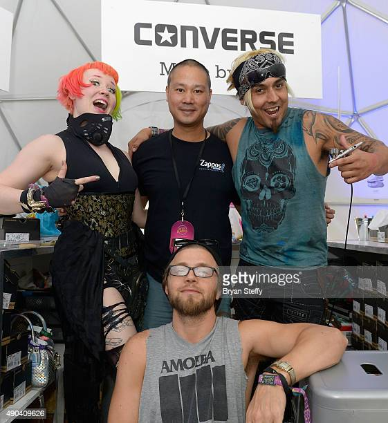 Artist Heather Hermann Zapposcom CEO Tony Hsieh artist Gear Duran and artist Brett Bandriwski attend the 2015 Life is Beautiful festival on September...