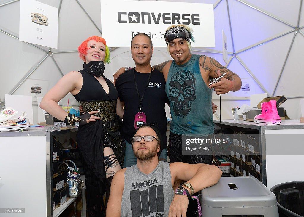 Artist Heather Hermann, Zappos.com CEO Tony Hsieh, artist Gear Duran and artist Brett Bandriwski (sitting) attend the 2015 Life is Beautiful festival on September 27, 2015 in Las Vegas, Nevada.