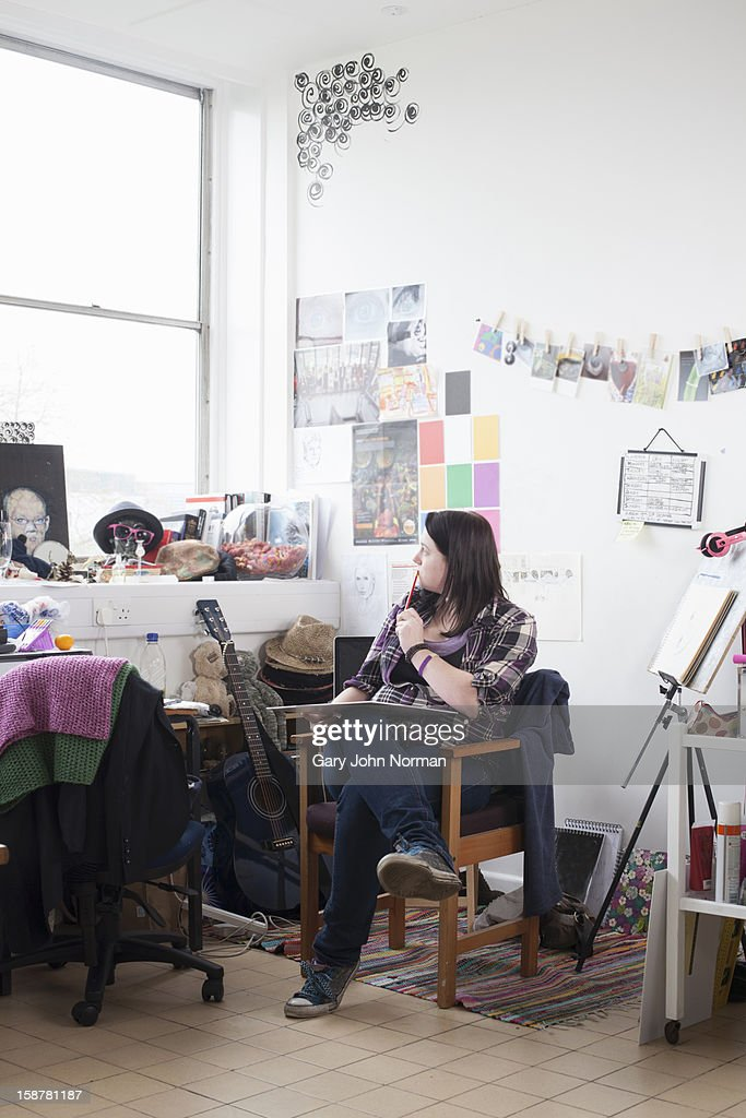 Artist in start up business studio : Stock Photo