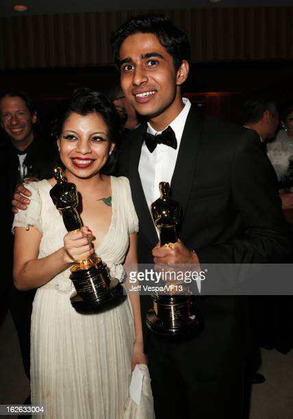 Artist Inocente Izucar and actor Suraj Sharma attend the 2013 Vanity Fair Oscar Party hosted by Graydon Carter at Sunset Tower on February 24 2013 in...