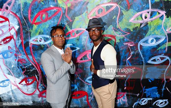 Artist Jamel Robinson and actor Taye Diggs attend the Bosideng Pop Up Shop event>> at Rothmans on January 22 2014 in New York City