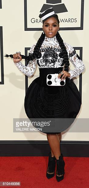 Artist Janelle Monae arrives on the red carpet during the 58th Annual Grammy Music Awards in Los Angeles February 15 2016 AFP PHOTO/ Valerie MACON /...